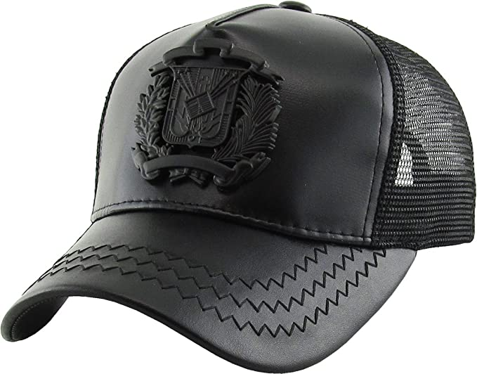 e04770bd7 Dominican Republic Gold Badge Wolf Rooster Tuna Trucker Cap Adjustable  Snapback Hat