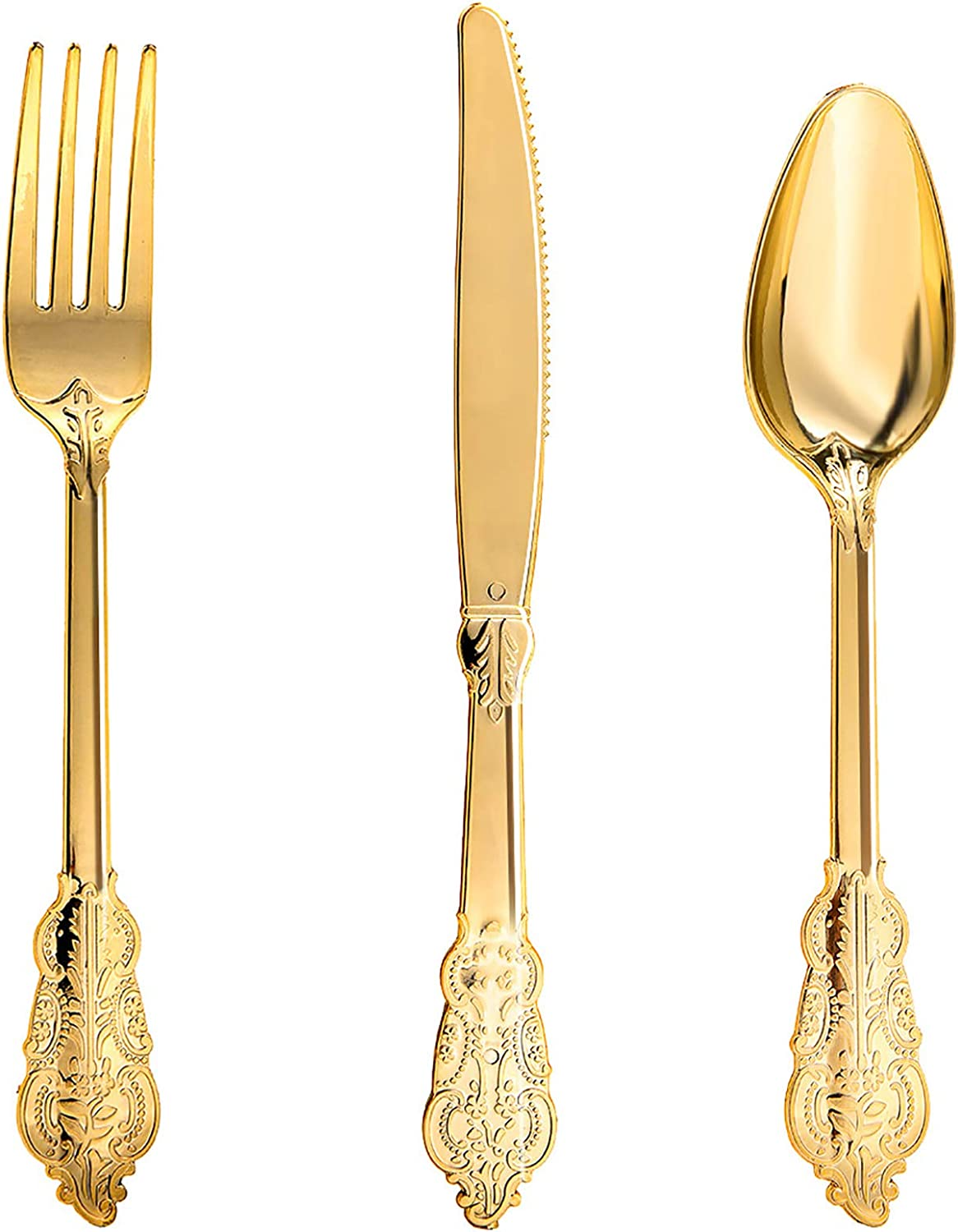 N9R 300pcs Gold Plastic Silverware Dinnerware Flatware- Heavyweight Gold Plastic Cutlery Set, 100 Gold Forks, 100 Gold Spoons, 100 Gold Knives, Gold Utensils for Party, Dinner Decor
