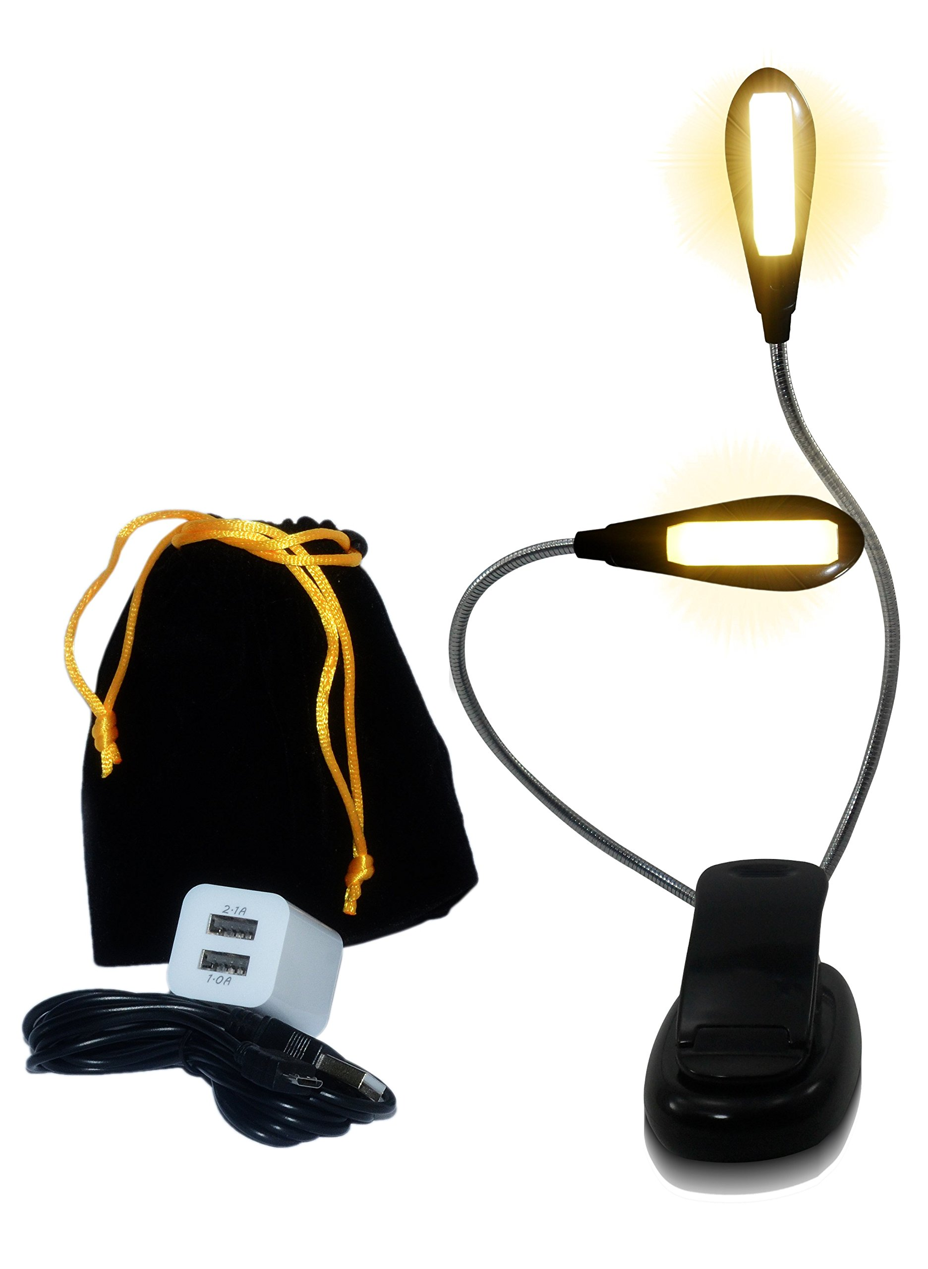 Eye Care Warm Book Light — 6 Brightness Levels, LED Clip-On Lamp for Reading in Bed, Dual Charger, 78in USB Cable & Travel Bag — Eco Friendly Rechargeable & Replaceable Battery - Best Gift for Her