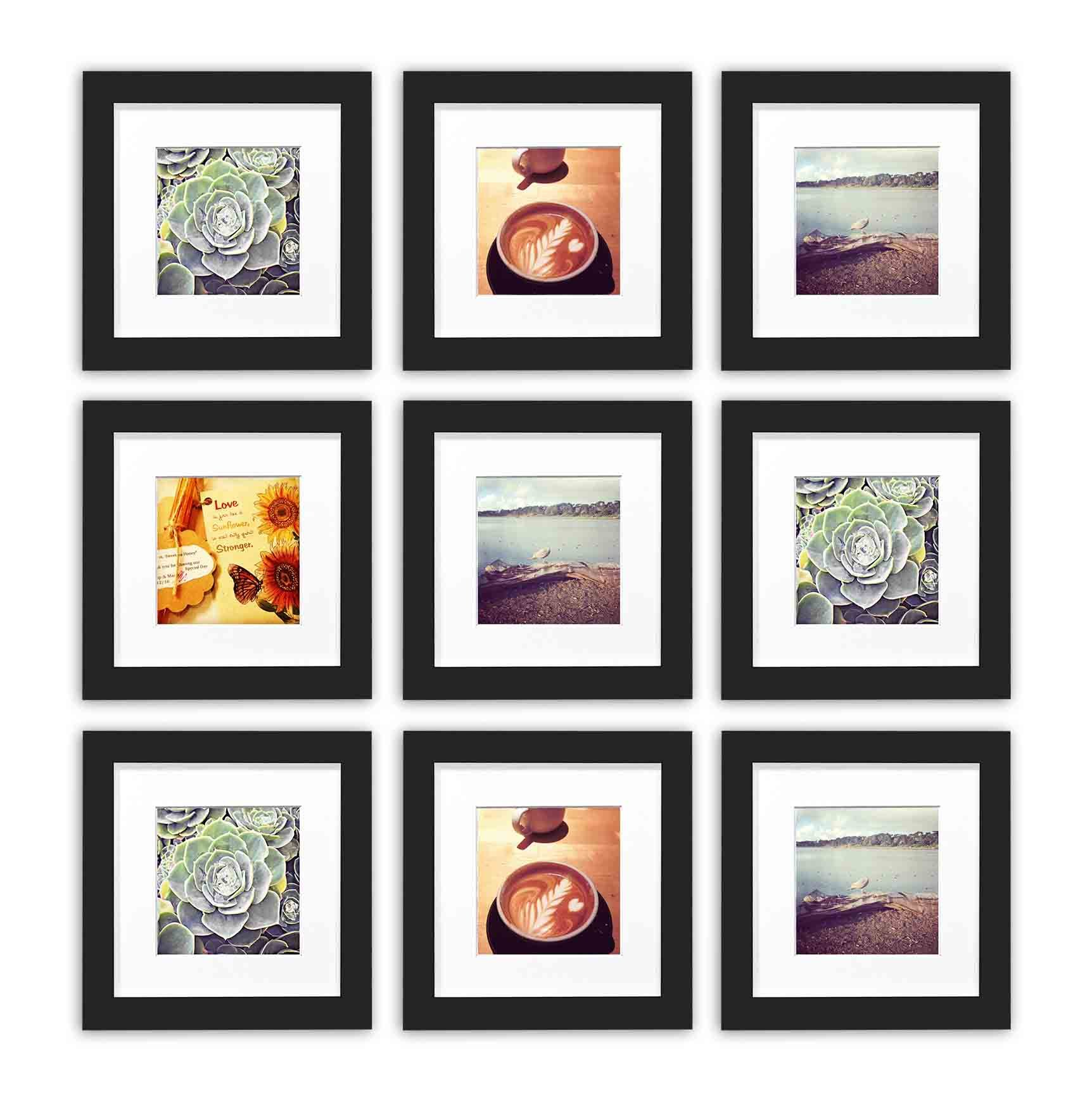Golden State Art, Smartphone Instagram Frames Collection,Set of 9, 6x6-inch Square Photo Wood Frames with White Photo Mat & Real Glass for 4x4 Photo, Black by Golden State Art