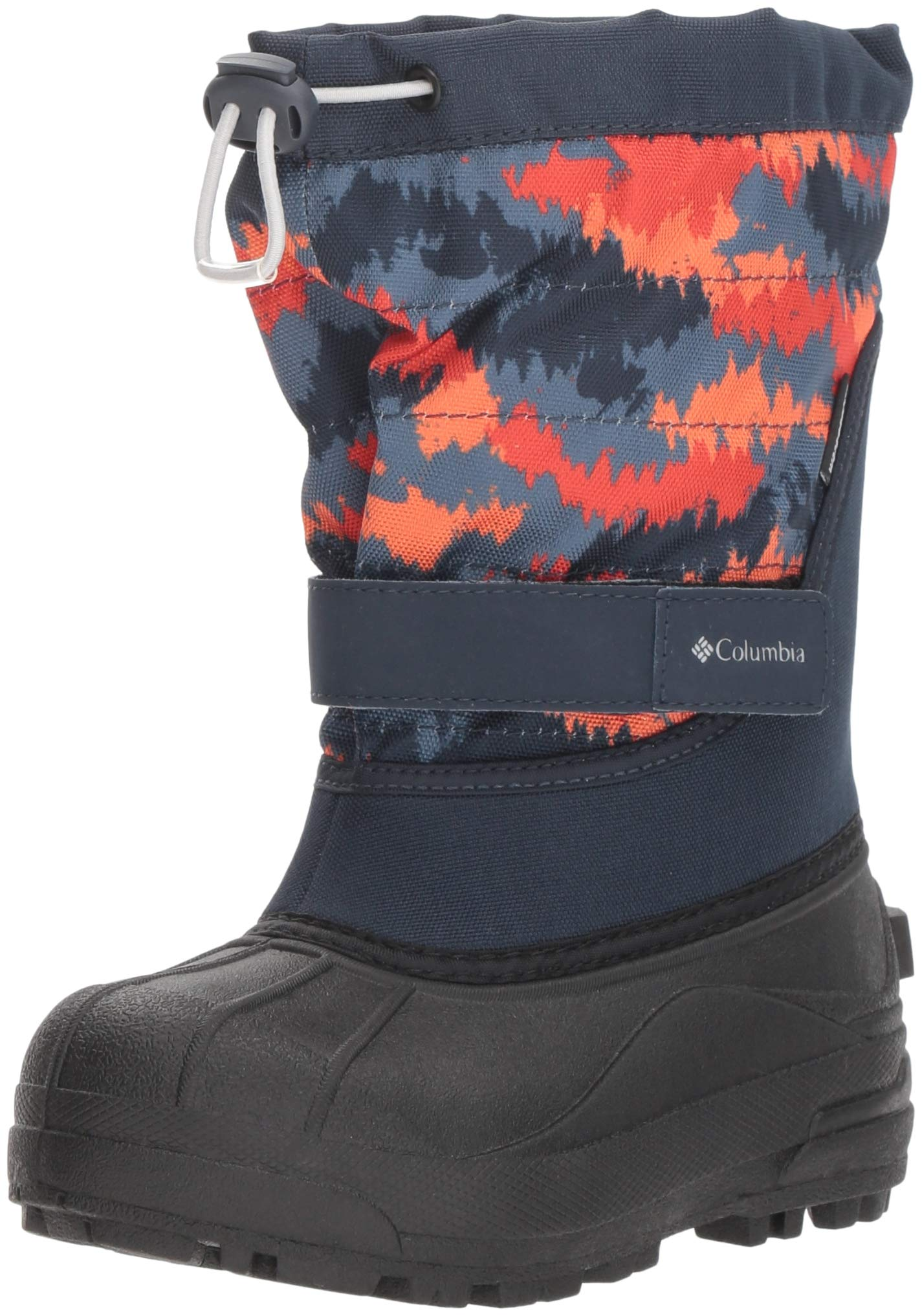 Columbia Boys' Youth Powderbug Plus II Print Snow Boot, Abyss, Grey ice, 1 Regular US Little Kid