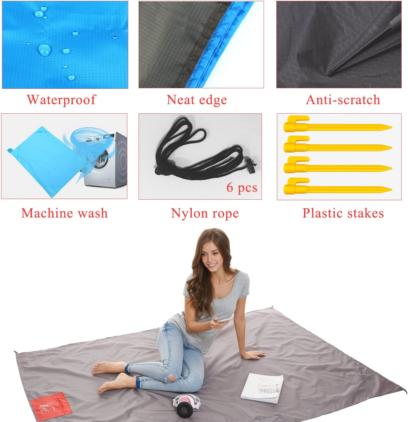 Nylon Waterproof Fast Drying Lightweight Outdoor Blanket Topnuna Beach Blanket with 6 Sand Packets Multipurpose for Beach Picnic Outdoor and Travel Mat with Carry Bag /& Metal Pegs by
