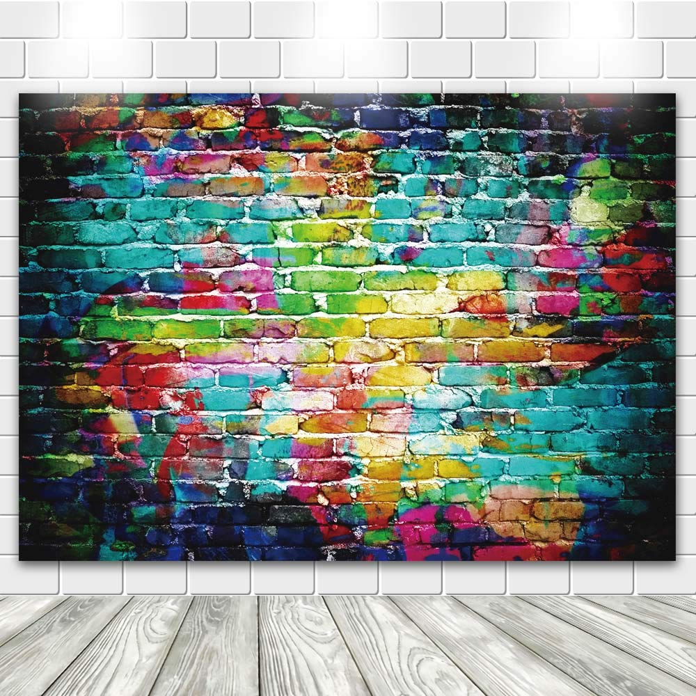 econious Photo Backdrop, 7X5ft Colorful Brick Wall Photography Backdrop for Bridal Shower Baby Birthday Party Banner Photo Props by econious