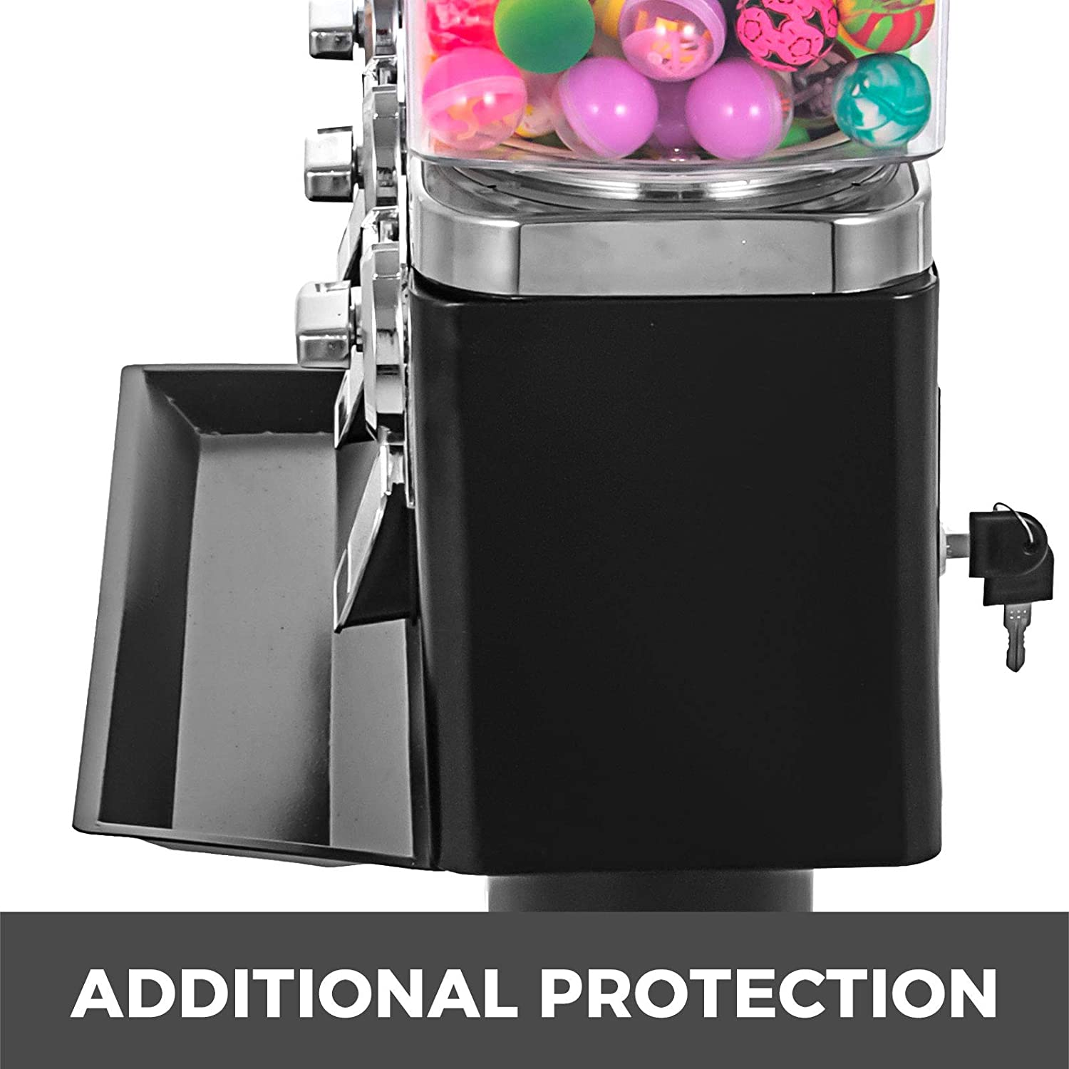 Gumball Machine Triple with Metal Stand Toys Capsules Candy Vending Machines on Stand Red Cylinder Bank 3 Gumballs Machines on Metal Stand