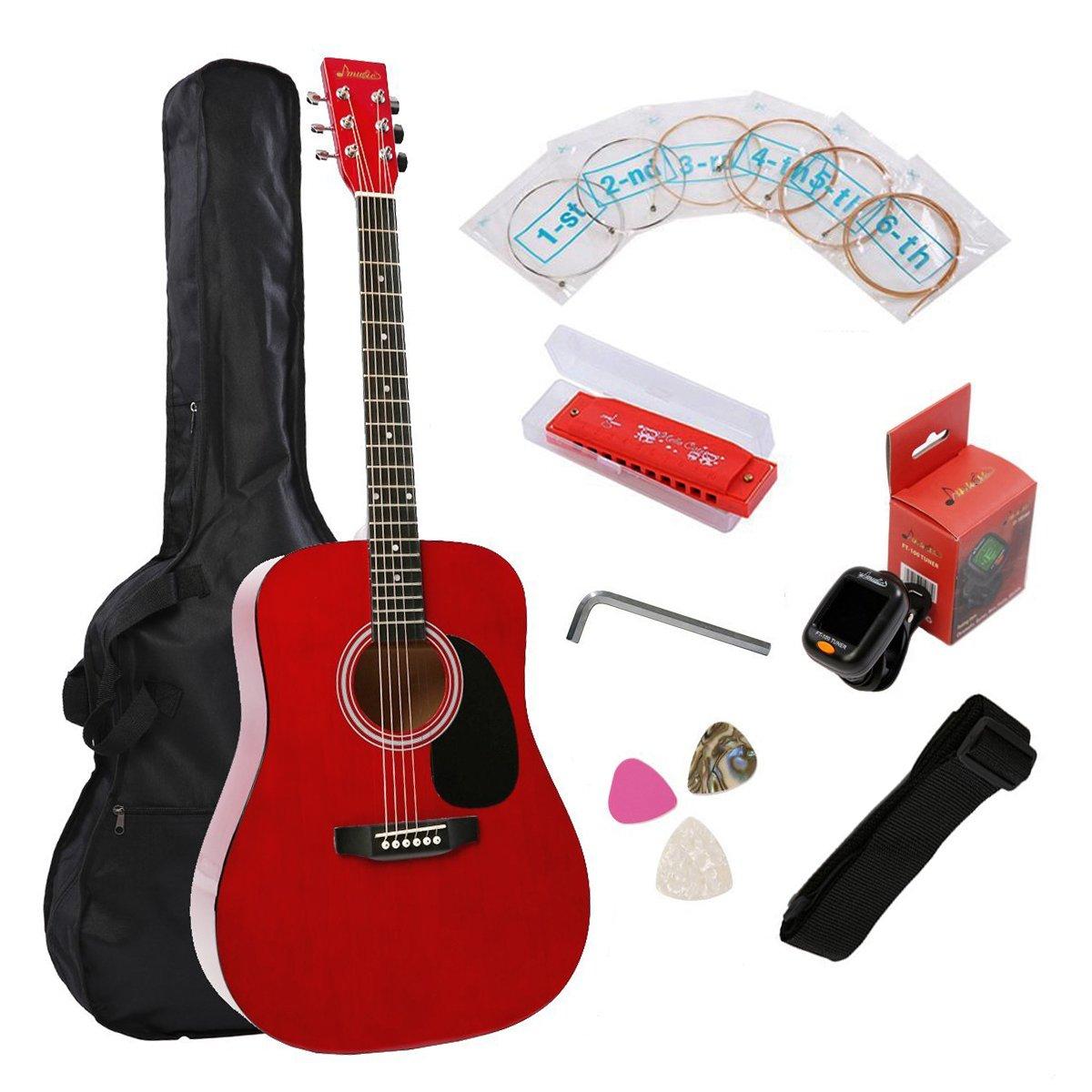 Full Size Acoustic Guitar Music 41 Inch Dreadnought Guitar Starter Kit - Gloss Red
