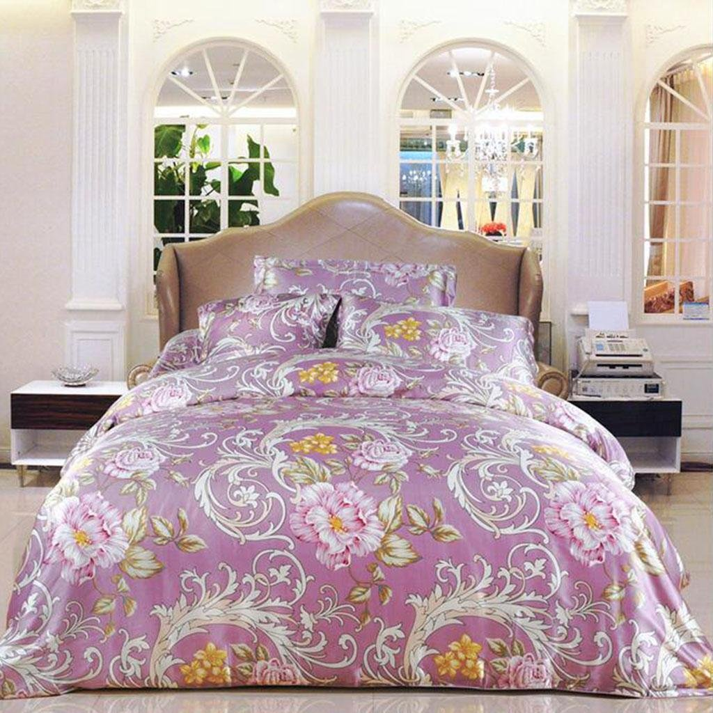 L&M Silk Four sets Mulberry silk Double-sided tian silk Jacquard Tribute satin Silk Stitching Piping Invisible Zipper Bed linings , purple , 200230cm