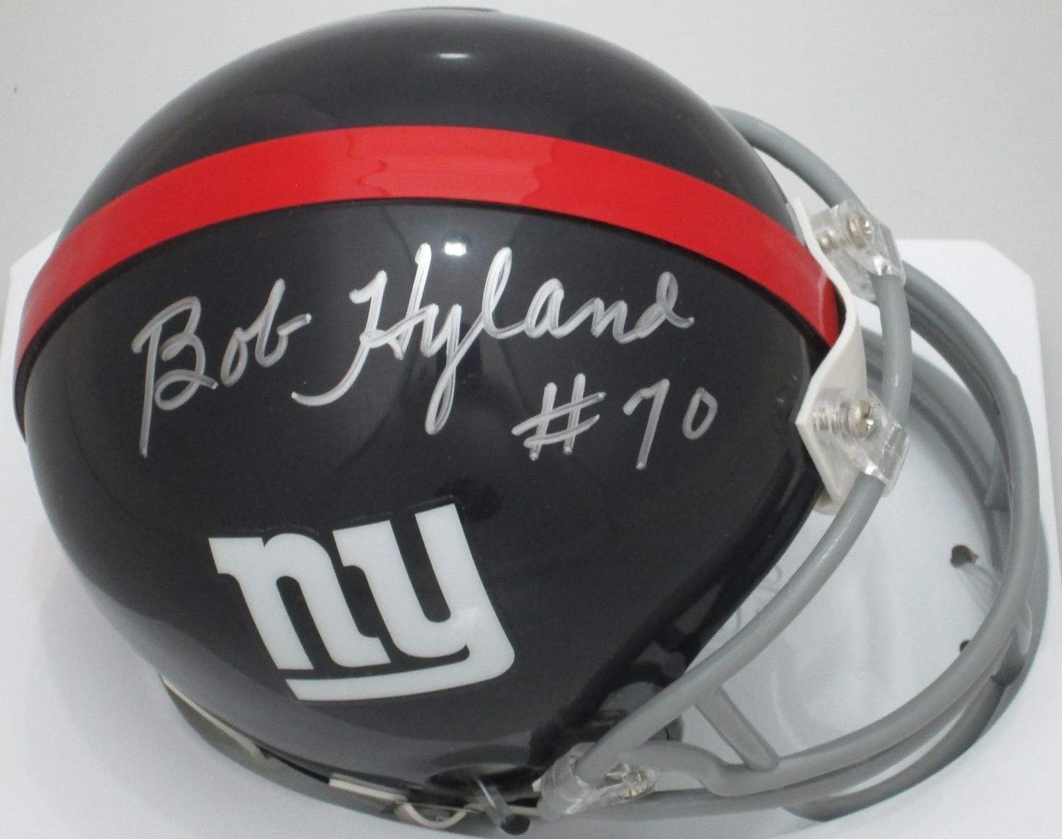 Amazon.com  Ny Giants Bob Hyland  70 Autographed Throwback Mini Helmet  Signed - Certified Authentic  Sports Collectibles a415cc53e27