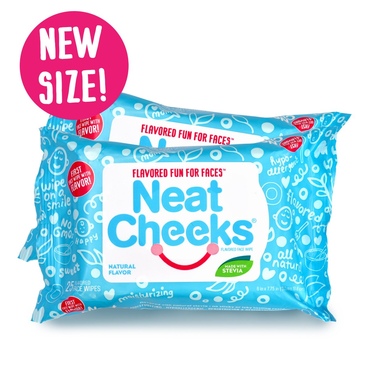 The Original NeatCheeks Natural Flavored Baby Face Wipes for Sensitive Skin - As seen on SHARK TANK! (4 Packs of 24)