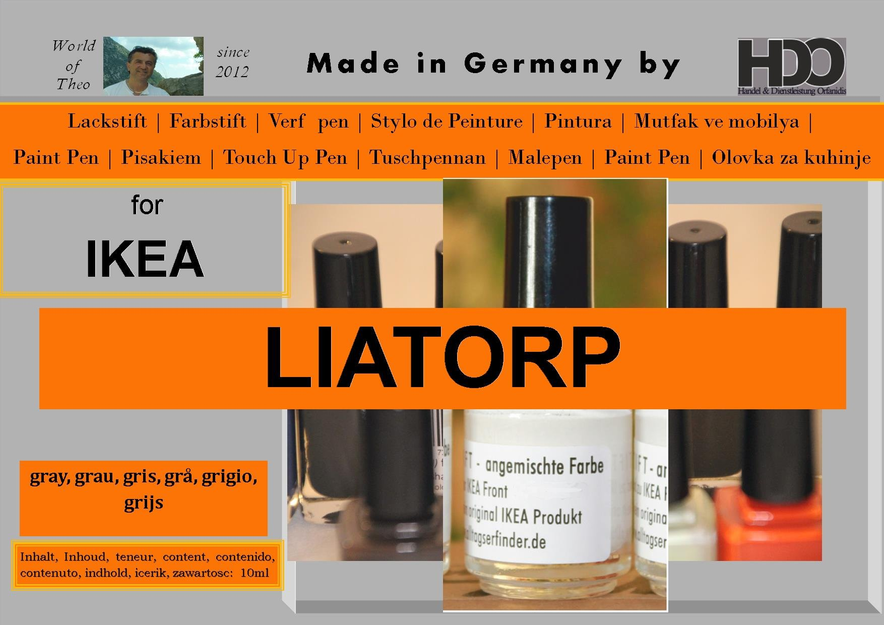 Q-Pen HDO Touch Up Paint for IKEA Liatorp grey gray gris by Q-Pen HDO