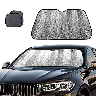 Big Ant Windshield Sun Shade + Bonus Car Window Sun Shade -Best Car Sun Shade to Keeps Vehicle Cool-UV Ray Protector Sunshade Fit for Cars SUV Trucks Minivans(55.1 x 27.5 inches): Automotive