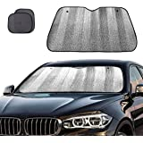 Big Ant Windshield Sun Shade + Bonus Car Window Sun Shade -Best Car Sun Shade to Keeps Vehicle Cool-UV Ray Protector…