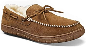 7f63198a82a Eddie Bauer Men s Shearling-Lined Moccasin Slipper