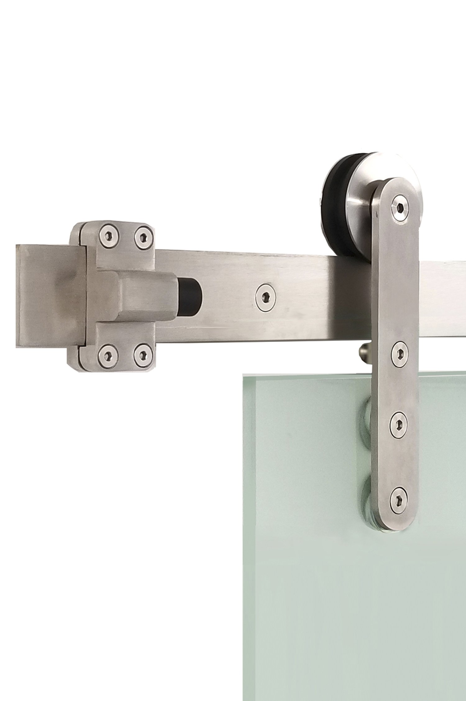 Contemporary Flat Track Stainless Steel Sliding Barn Door Hardware for Glass Doors / Satin Finish - Torch GF Series (5 Feet Rail Length)