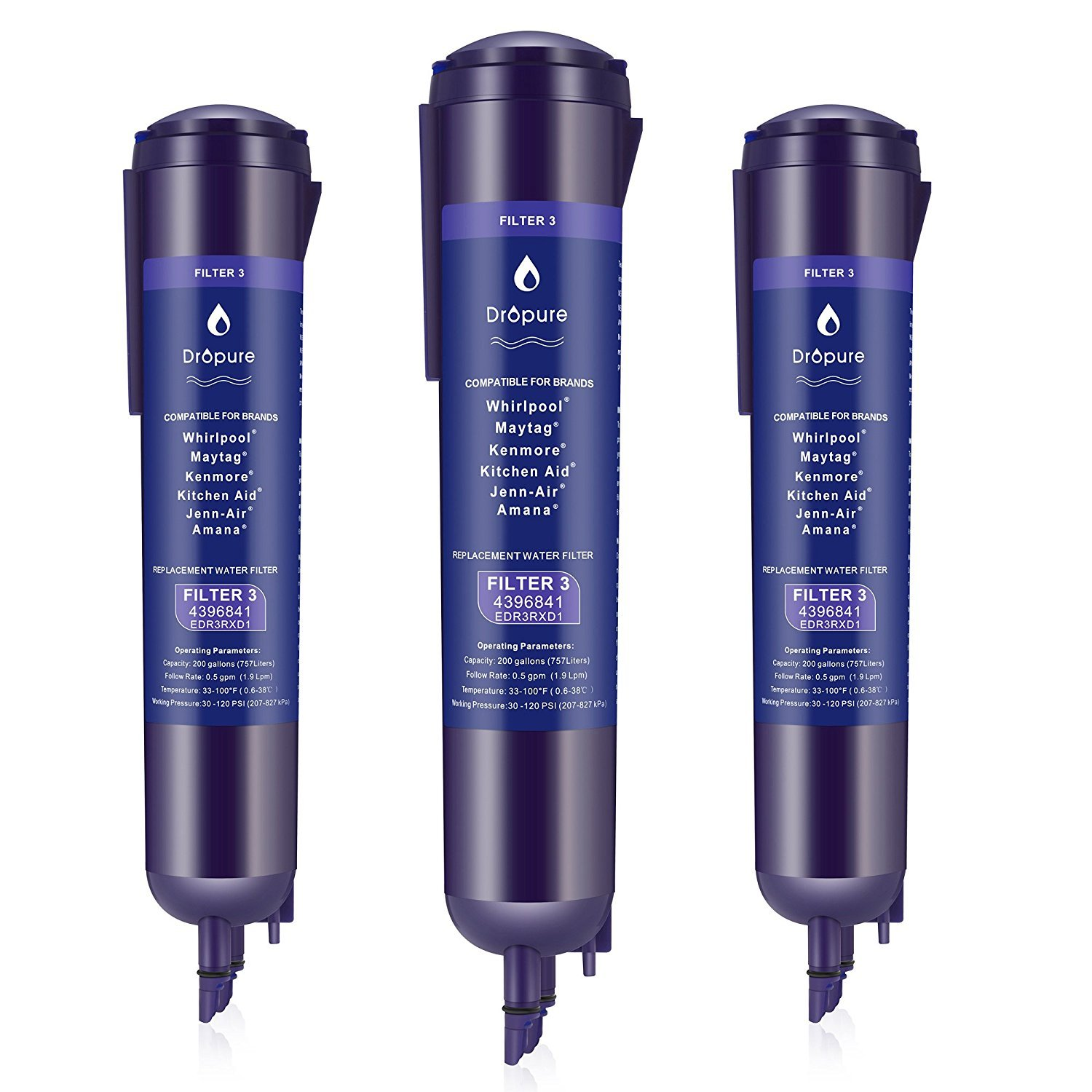 4396 841 4396 710 Refrigerator Water Filter Replacement for EDR3RXD 1 P2RFWG2 Pur Filter 3 Kenmore 9030-3 Pack
