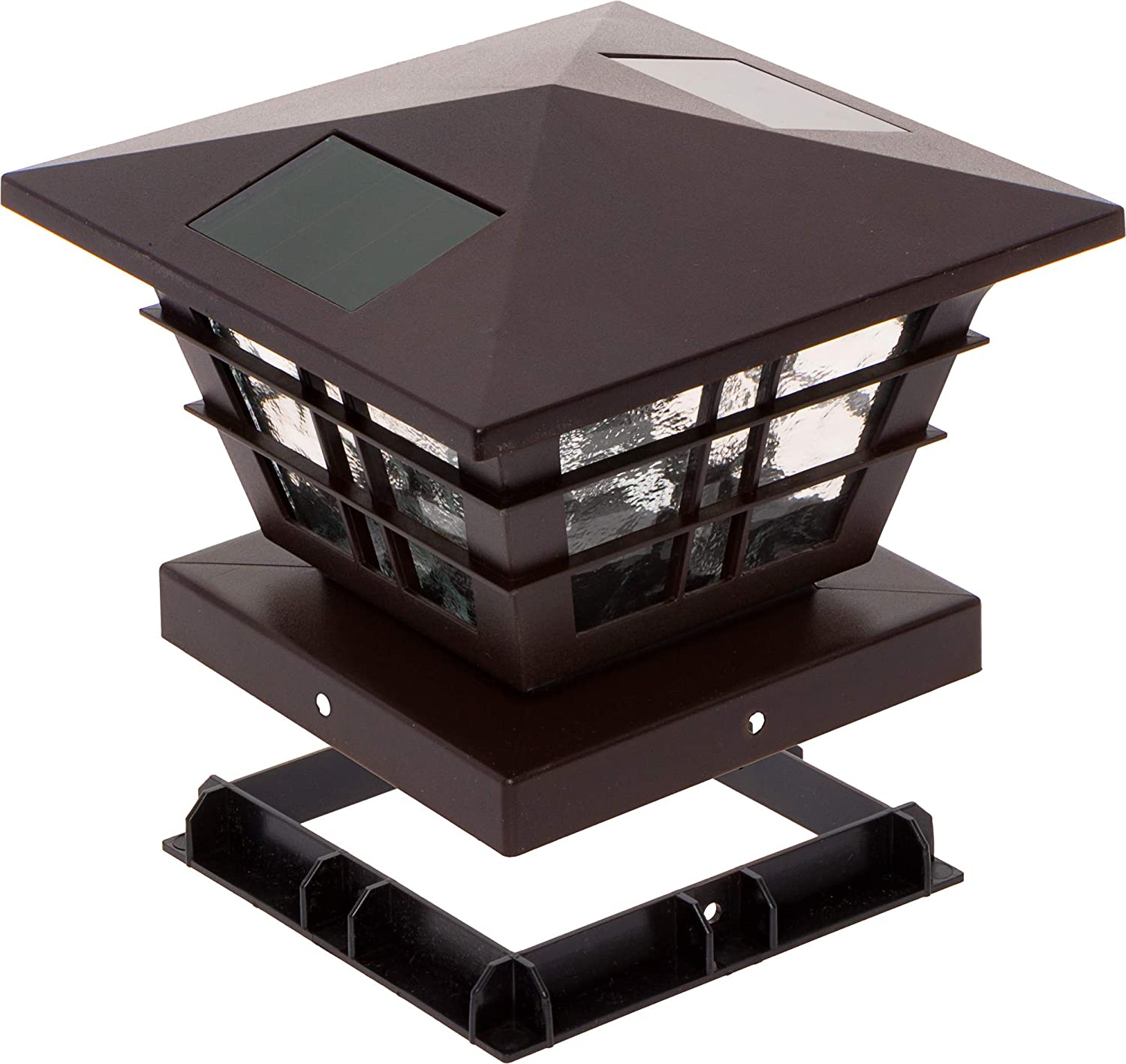 Fits 5 inch and 4 inch PVC Posts GreenLighting White Cape Cod 5x5 Solar Powered Post Cap Light with 4x4 Base Adapter