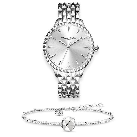 THOMAS SABO - Reloj de pulsera para mujer, diseño de corazón con corazón, plata de ley 925, pulsera de acero inoxidable SET0513-616-21: Amazon.es: Relojes