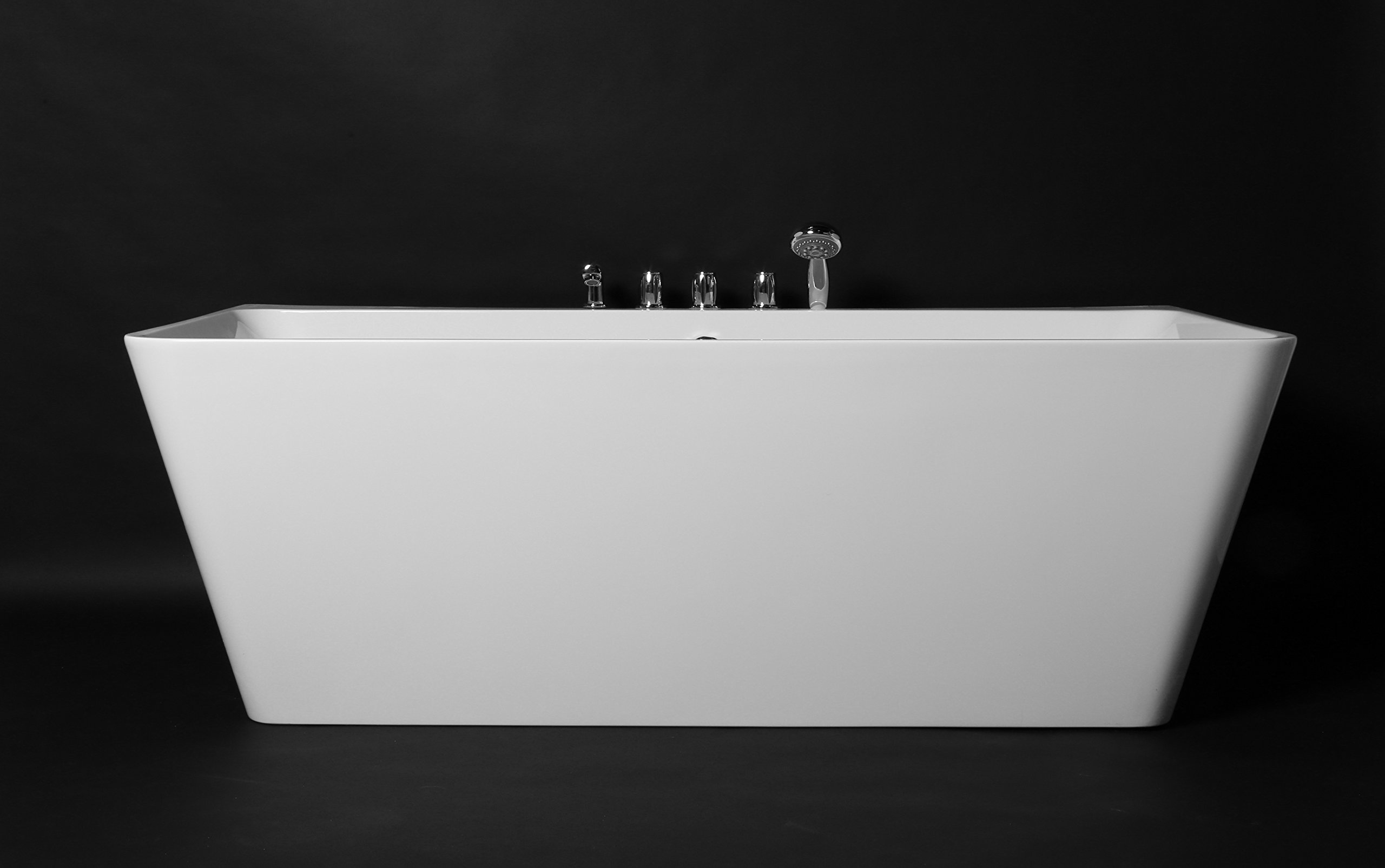 Kokss Iseo 67'' Modern Acrylic Bath Tub With Chrome Finish & Tub Filler Faucet, Freestanding, White, square, Rest, Bathe, Luxury spa hot tub, Seamless Bathroom Soaking, New 2016 Design Model