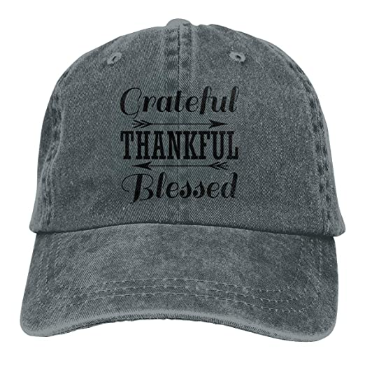 Image Unavailable. Image not available for. Color  Grateful Thankful Blessed  Letters Arrow Denim Cap Baseball ... f52b9cc27cd7