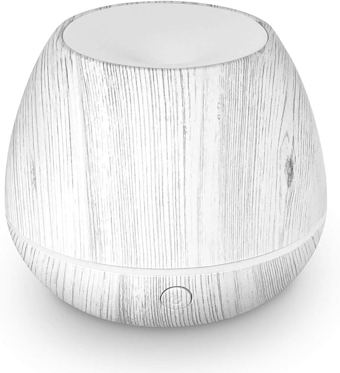 LEMON + Co. Mini Cool Mist Air Humidifier Ultrasonic Aroma Essential Oils Diffuser with Multiple Lighting Options, White Wood Grain, 150 ml