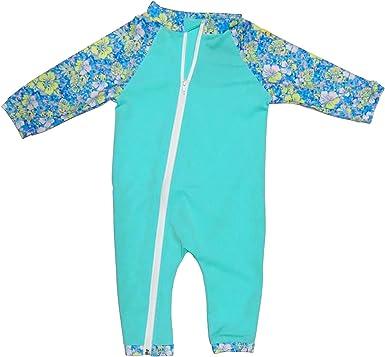 BONVERANO Traje de ba/ño para beb/é con capucha y cremallera de 3//4 de la longitud de la manga.