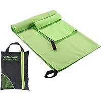 Pawaca toalla de microfibra de secado rápido absorbente, toalla de viaje para natación (130 x 80 cm) y toalla de mano (80 x 40 cm) con bolsa individual portátil, super absorbente, compacta, ligera, 2 unidades
