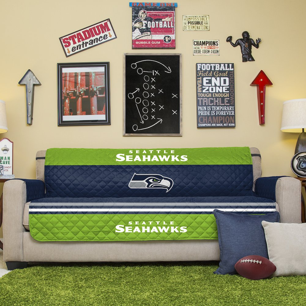Pegasus Home Fashions NFL Seattle Seahawks Sofa Couch Reversible Furniture Protector with Elastic Straps, 75-inches by 110-inches