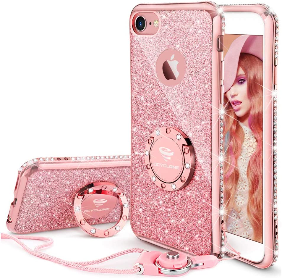 Cute iPhone 8 Case, Cute iPhone 7 Case, Glitter Luxury Bling Diamond Rhinestone Bumper with Ring Grip Kickstand Protective Thin Girly Pink iPhone 8 ...
