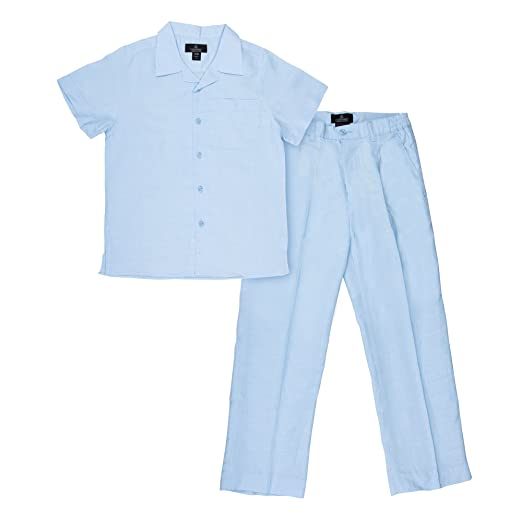 Kids 1950s Clothing & Costumes: Girls, Boys, Toddlers Vittorino Boys Summer Linen 2 Piece Set With Pants and Short Sleeve Shirt $39.99 AT vintagedancer.com