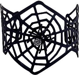 SIX Armreif: Auffälliger Armschmuck mit schwarzem Spinnennetz und Glitzer-Spinne, schön breit, perfekt für Halloween/Fasching, schwarz (748-704)
