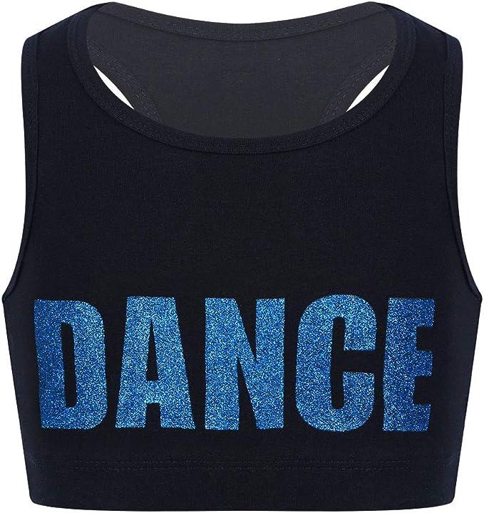 Kids Girls Short Sleeves Crop Top Ballet Belly Dance Tank Top Gym Sport T-Shirts