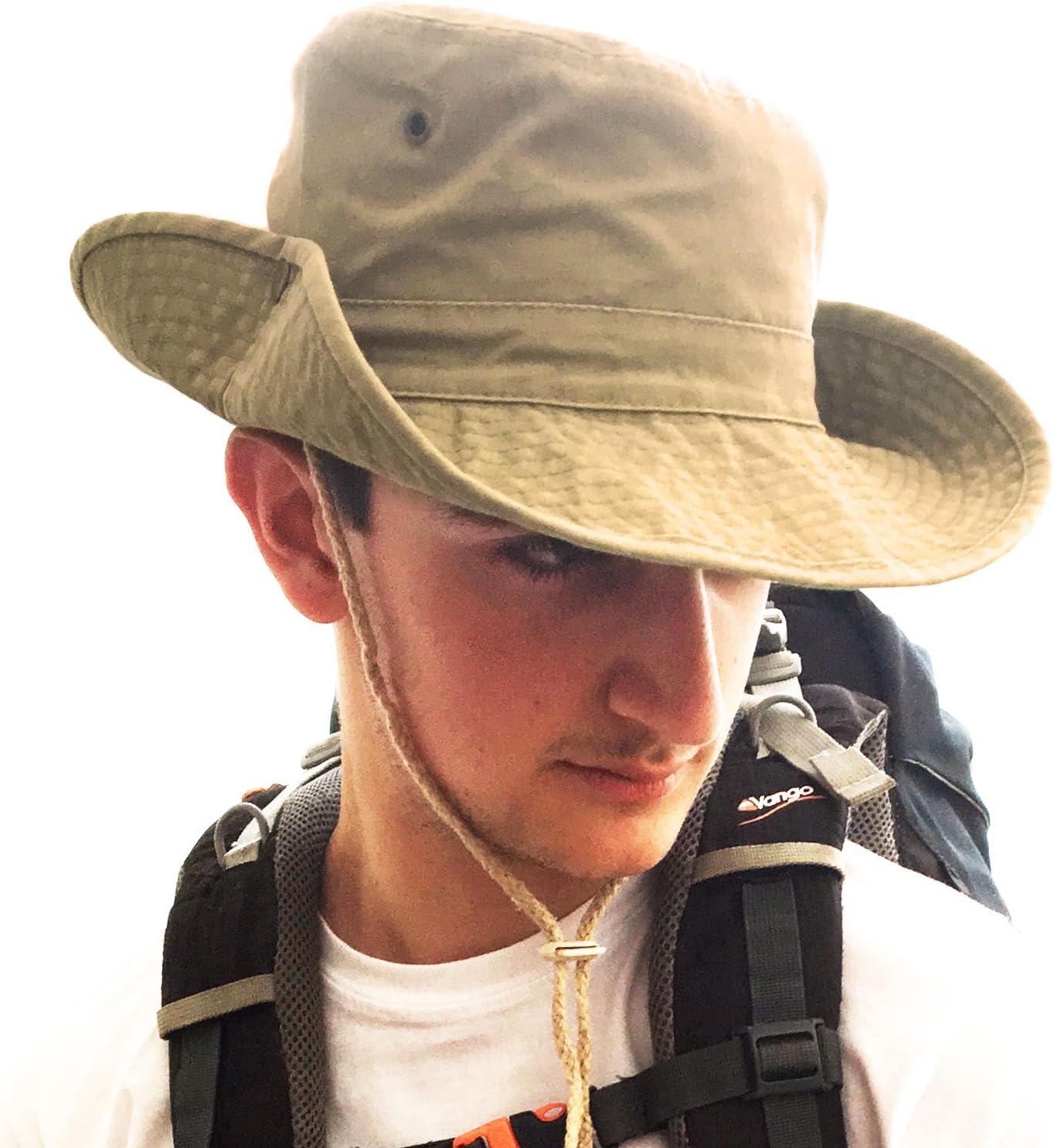 Tachuelas de presi/ón Laterales y Salidas de Aire Unisex Safari Outback Sombrero Estilo arbusto de algod/ón Estilo Australiano con Borde Ancho Correa para la Barbilla TOSKATOK/® UPF 50