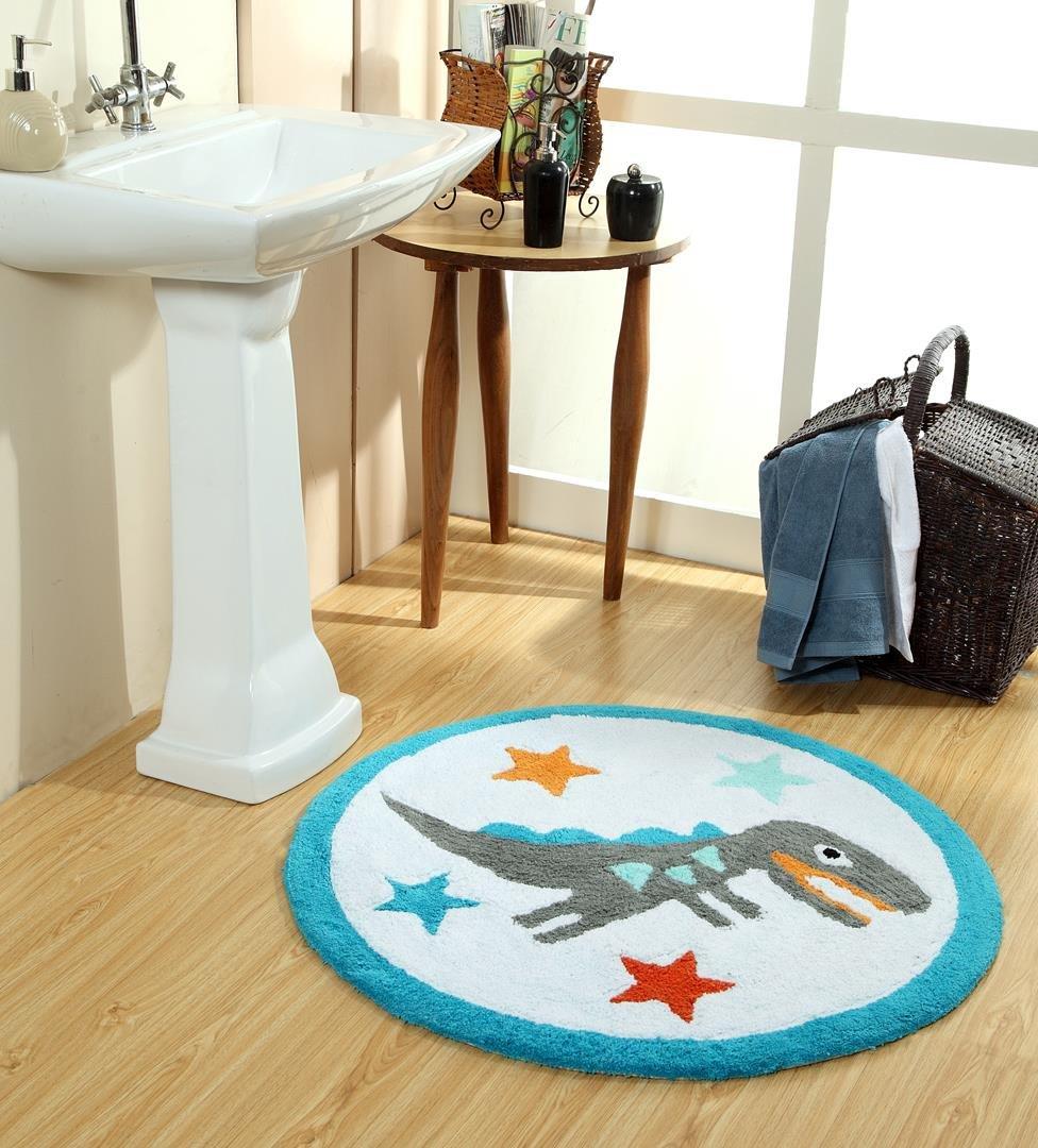WARISI Kids Collection - Multi Color Vibrant Children Kids Toddler Bath Shower Decorative Rug (Dinosaur)