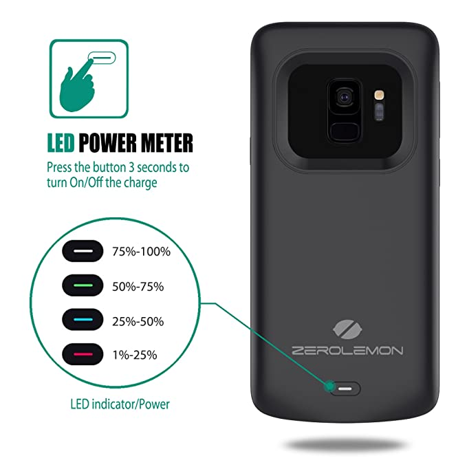 Galaxy S9 Battery Charging Case, ZeroLemon Slim Power 4700mAh Extended Battery with Full Edge Protection Charging Case for Galaxy S9 - Black