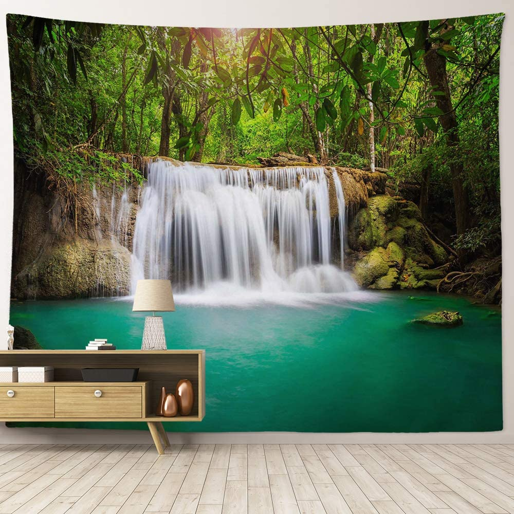 """HIYOO Home Nature Art Wall Hanging Fabric Tapestry, Tropical Rain Jungle Tree Rock Waterfall Heaven Tapestry, Decor For Dorm Room, Bedroom,Living Room, Party Background - Waterfall 90""""W x 71""""L"""