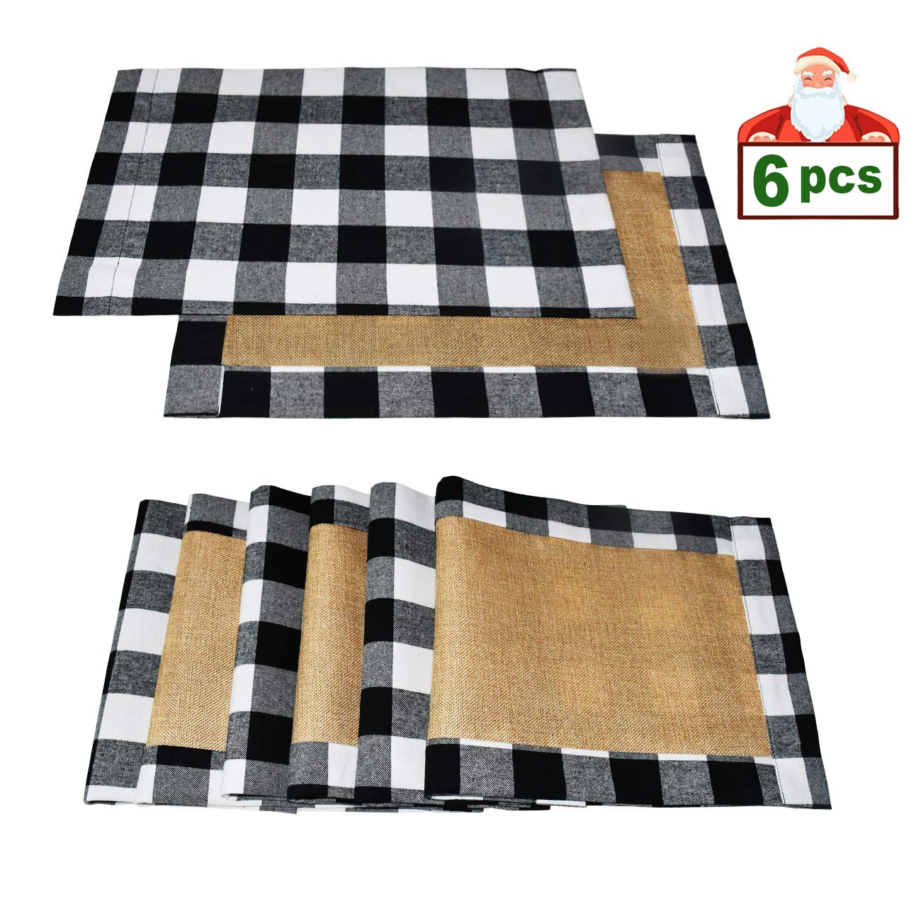 Senneny Set of 6 Christmas Placemats Buffalo Check Placemats Black White Plaid Reversible Burlap & Cotton Placemats for Christmas Holiday Table Home Decoration