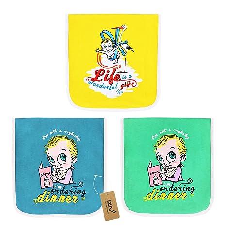 iZiv Muselina Baberos - Paquete de 3 Diseños Muselina Paños Para Bebés Burpy Bib, 3