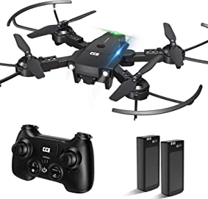 CCE Mini Drone for Kids and Beginners, Training Drone with LED Light, RC Helicopter Quadcopter with Altitude Hold, 3D Flips, One Key Take Off/Landing, 2 Batteries, Gifts for Kids and Beginners