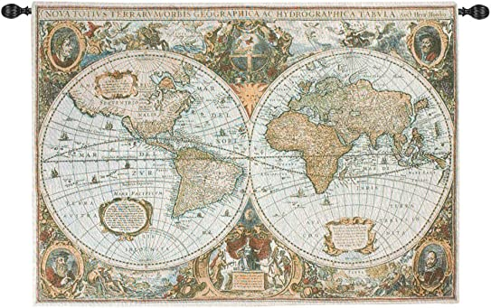 Vintage-Style Map of the World Cotton Woven Wall Art Hanging Tapestry 50 x 35
