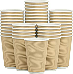 Luckypack Hot 16 oz Disposable Insulated Corrugated Sleeve Ripple Wall Paper Coffee Cups for Drink, 100,16oz, Brown