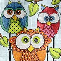 Dimensions 70-65159 Owl Trio Counted Cross Stitch Kit 5 x 7