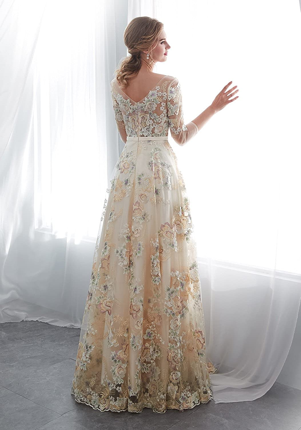 112e59e41e8a Elegant Lace Evening Dresses Three Quarter Sleeves Formal Gowns Long 30660  at Amazon Women's Clothing store:
