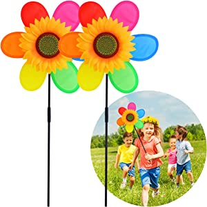 Quality Yes Rainbow Sunflower Garden Wind Spinners Pinwheels Bee Stakes Decorations Outdoor Lawn Decorative Yard Decor Patio Accessories Windmills Ornaments Gardening,2pack