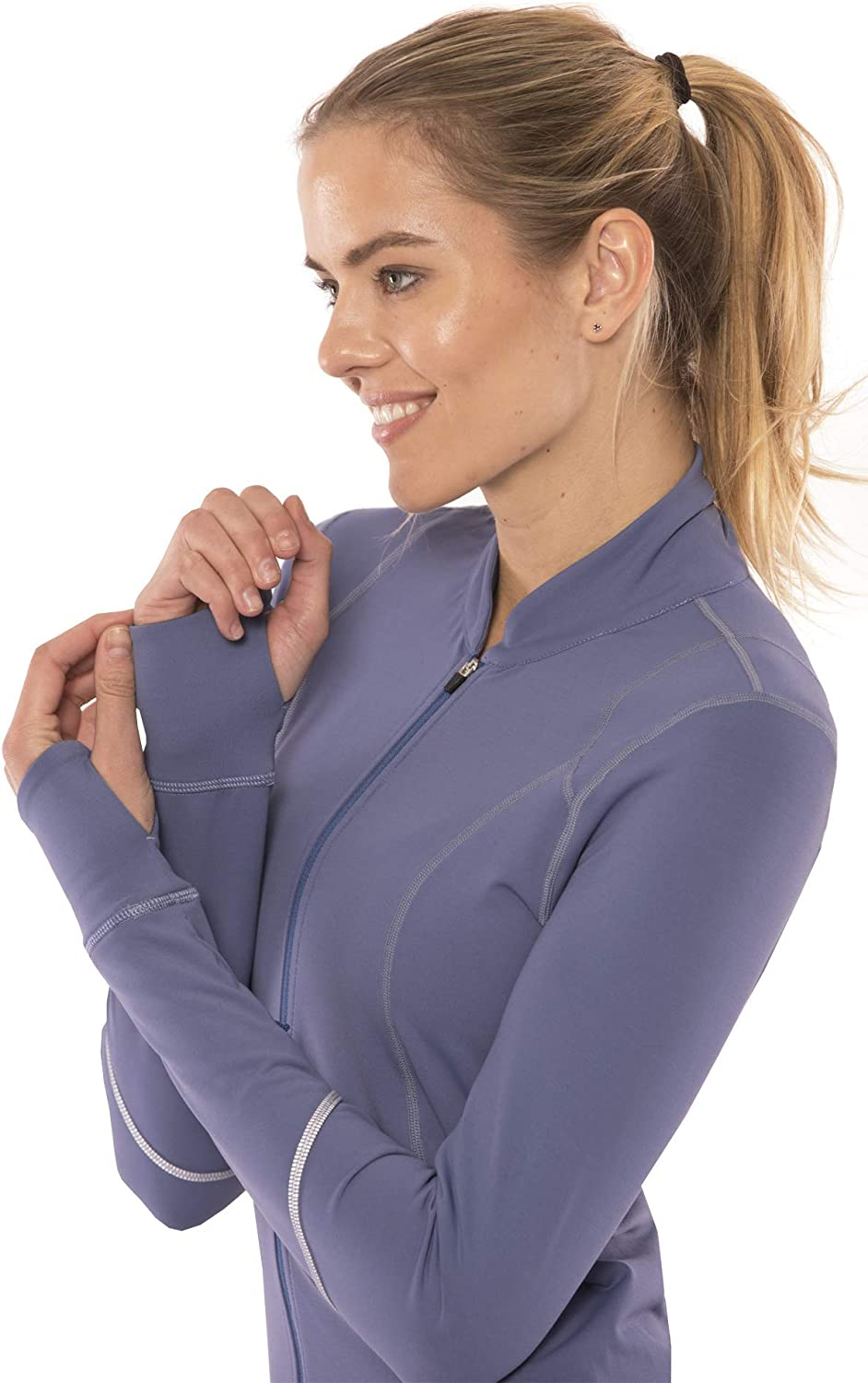Yogatech Reflective Women Soft Lightweight Full Zip Yoga Running Jacket with Invisible Zipper Pockets Up to 3X