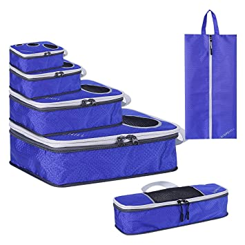 Organizadores de Viajes - Slopehill 6 Piezas Organizador Maleta Nylon Bolsas De Almacenamiento para la Ropa Cosmética Zapatos Packing Cubes + Bolsa de ...