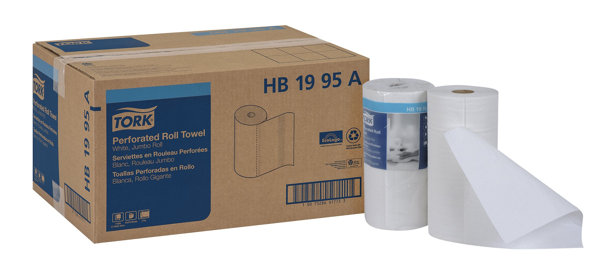 Tork HB1995A Jumbo Roll Perforated Paper Roll Towel, 2-Ply, 11'' Width x 9'' Length, White (Case of 12 Rolls, 210 per Roll, 2,520 Towels)