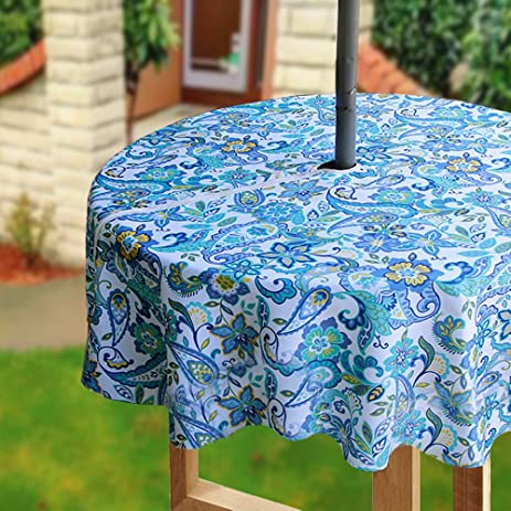 Eforcurtain Country Paisley Printed Outdoor Round Tablecloths Waterproof Machine  Washable Fabric Tablecloth With Zipper And Umbrella