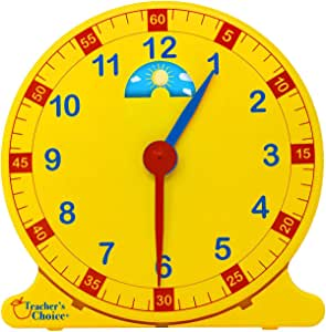 "Learn How to Tell Time Teaching Clock - Large 12"" Classroom Demonstration Night and Day Learning Clock"