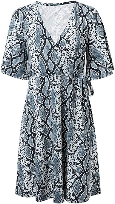 Flattering Stretch Snakeskin Print Jersey Wrap Front Dress
