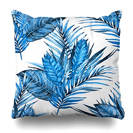 Surprising Asoco Throw Pillow Covers Tropical Blue Floral Watercolor Palm Leaves Flowers Cobalt White Double Sided Pattern Sofa Cushion Cover Couch 18 X 18 Inch Bralicious Painted Fabric Chair Ideas Braliciousco