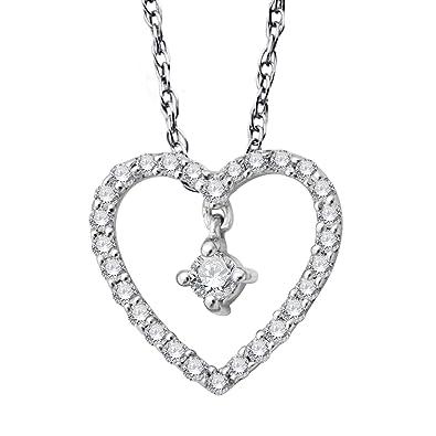 Amazon 10k white gold heart diamond pendant necklace 014 10k white gold heart diamond pendant necklace 014 carat aloadofball Choice Image